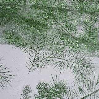 """органза біла з зеленими блискітками """"гілочки"""" ш.150"""