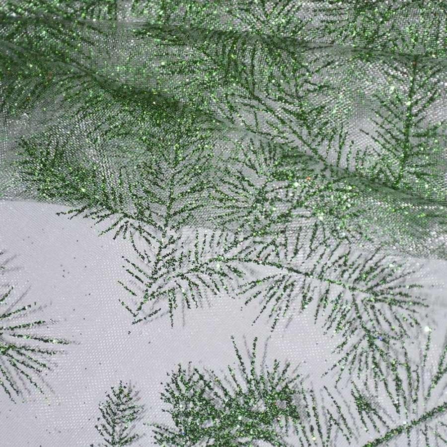 """органза белая с зелеными блестками """"веточки"""" ш.150"""