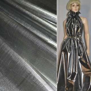 парча сріблясто-чорна гладка ш.150