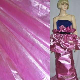 парча яскраво-рожева з серебрист. відлив., гладка ш.150