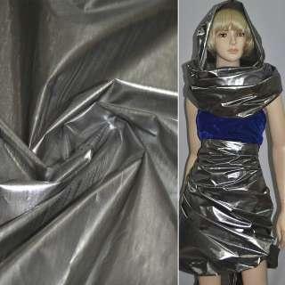 парча сріблясто-чорна гладка ш.150 см.