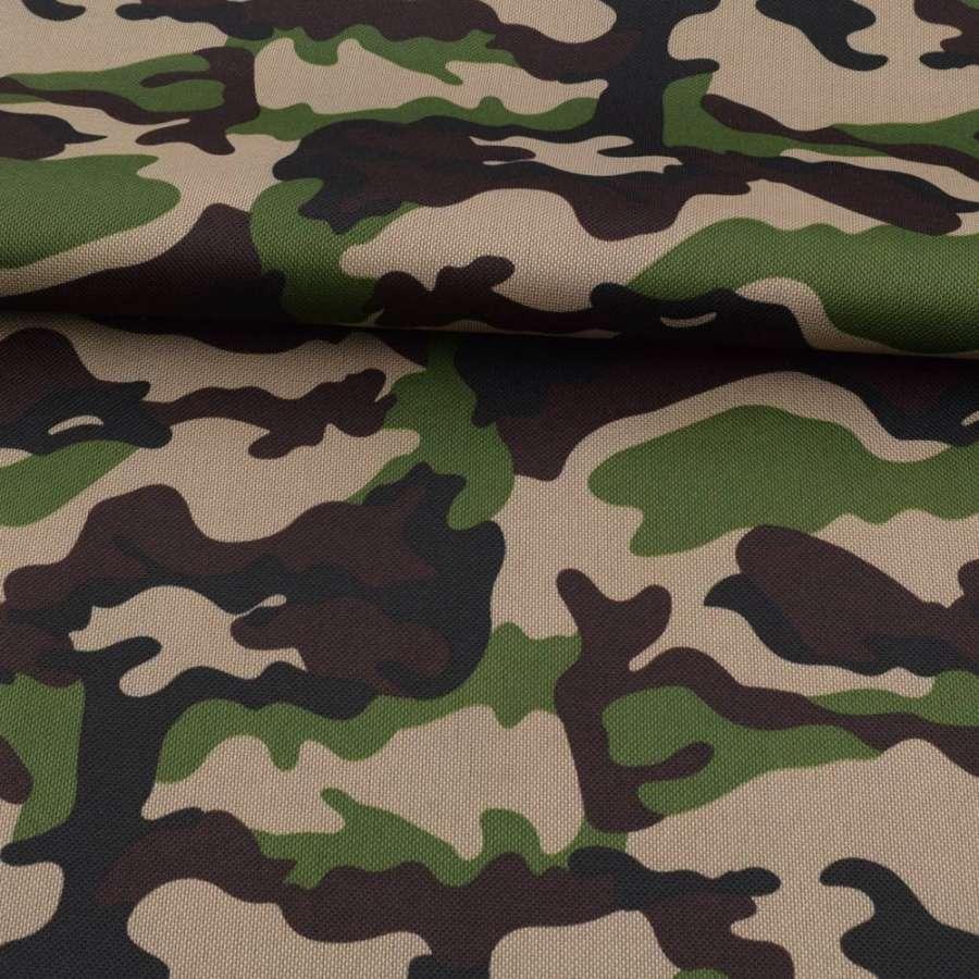 ПВХ тканина оксфорд 600D камуфляж зелено-коричневий ш.150