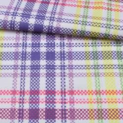 ПВХ ткань оксфорд 600D белая в фиолетовую+желтую, розовую клетку, ш.150