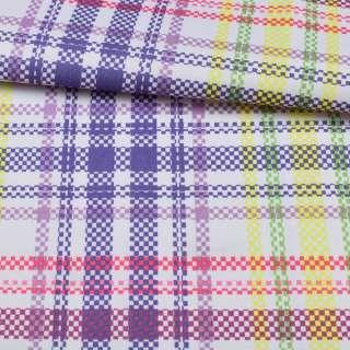 ПВХ ткань оксфорд 600D белая в фиолетовую, желтую, розовую клетку, ш.150