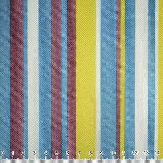 ПВХ ткань оксфорд 600 D в полоску желто-синюю+ терракот.-белую  ш.150