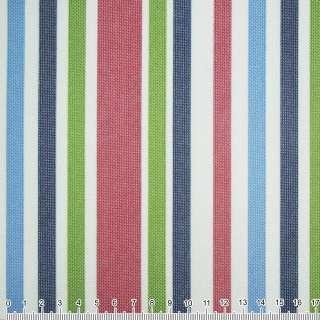 ПВХ тканина Оксфорд 600 D в смужку зелено-синю + вишнево-білу ш.150