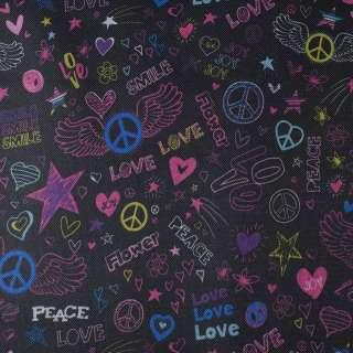 ПВХ ткань оксфорд 600 D черный в разноцветные peace, love ш.150