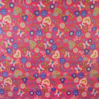 ПВХ тканина Оксфорд 600 D рожевий в різнокольорові метелики, квіти, серця ш.150