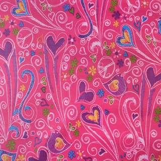 ПВХ тканина Оксфорд 600 D малиновий в різнокольорові серця, пташки, ш.150