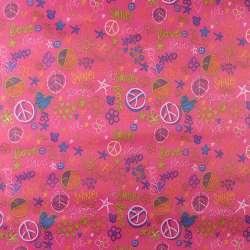 """ПВХ ткань оксфорд 600 D розовая """"Love Smile"""" ш.150"""