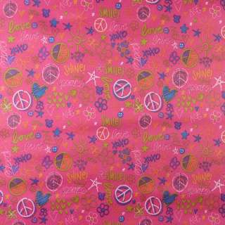 """ПВХ тканина Оксфорд 600 D рожева """"Love Smile"""" ш.150"""