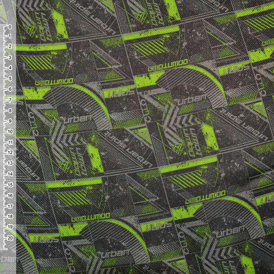 """ПВХ ткань оксфорд 600 D черно-салатовая """"Urban Spirit"""" ш.150"""
