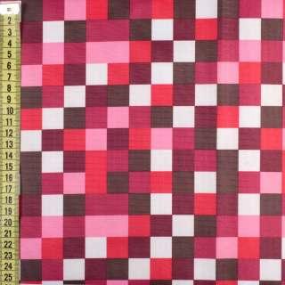 ПВХ ткань оксфорд рип-стоп красные, розовые, белые квадраты, ш.150