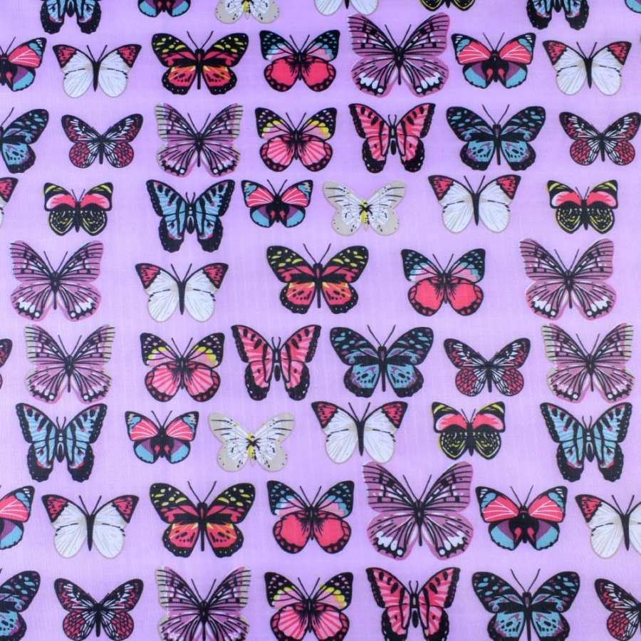 ПВХ тканина ріп-стоп 210T рожева в яскраві метелики ш.150