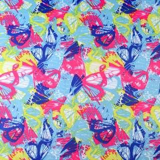 ПВХ тканина ріп-стоп 210T бірюзова в синьо-рожево-жовті метелики ш.150