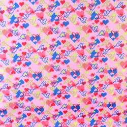 ПВХ тканина ріп-стоп 210T рожева в різнокольорові серця ш.150