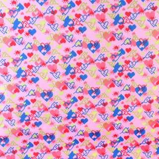 ПВХ ткань рип-стоп 210T розовая в разноцветные сердца ш.150