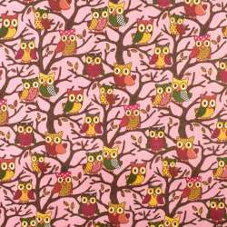 ПВХ ткань рип-стоп 210T розовая в совы на деревьях ш.150