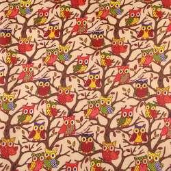 ПВХ тканина ріп-стоп 210T бежева в сови на деревах ш.150