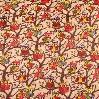 ПВХ ткань рип-стоп 210T бежевая в совы на деревьях ш.150