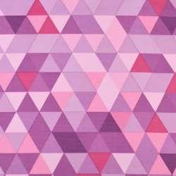 ПВХ ткань рип-стоп 210T в фиолетово-розово-сиреневые треугольники ш.155