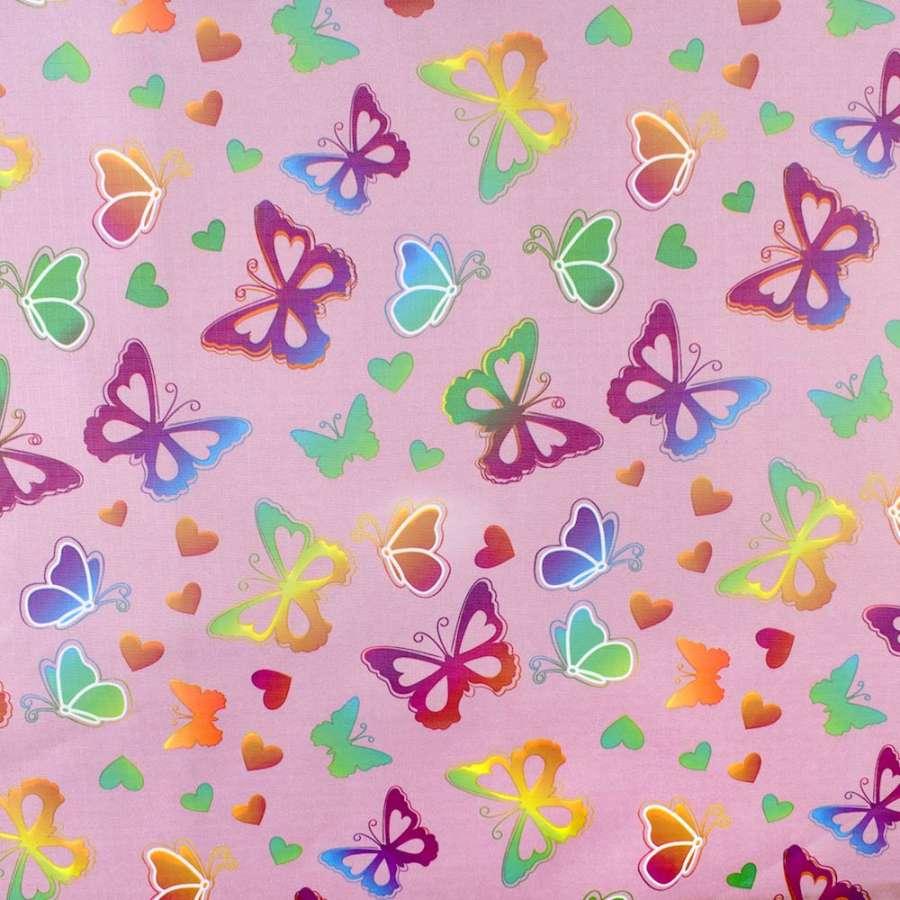 ПВХ ткань рип-стоп 210T фрезовая в яркие бабочки ш.150