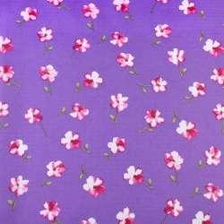 ПВХ ткань рип-стоп 210T сиреневая темная в розовый цветок ш.150