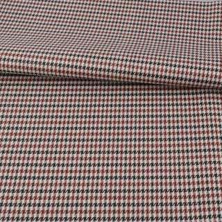 Ткань ПВХ бежевая в черно-коричневую гусиную лапку, ш.150