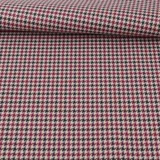 Ткань ПВХ бежевая в черно-бордовую гусиную лапку, ш.150