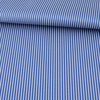 Ткань ПВХ синяя в белую полоску, ш.150