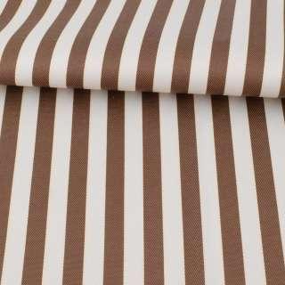 Ткань ПВХ бело-коричневая полоска, ш.150