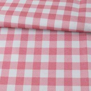 ПВХ ткань оксфорд 600D бело-розовая клетка, ш.150