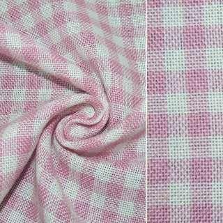 рогожка в розово-белую клетку ш.150