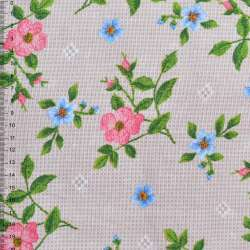 Рогожка набивная бежево-серая с цветущими веточками шиповника ш.150