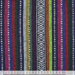 Ткань этно фиолетовые, малиновые, оранжевые полосы с орнаментом ш.150