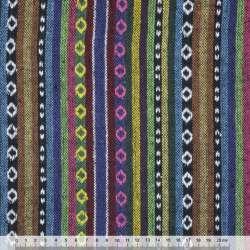 Ткань этно сине-терракотовые, зелено-черные полосы с орнаментом ш.150