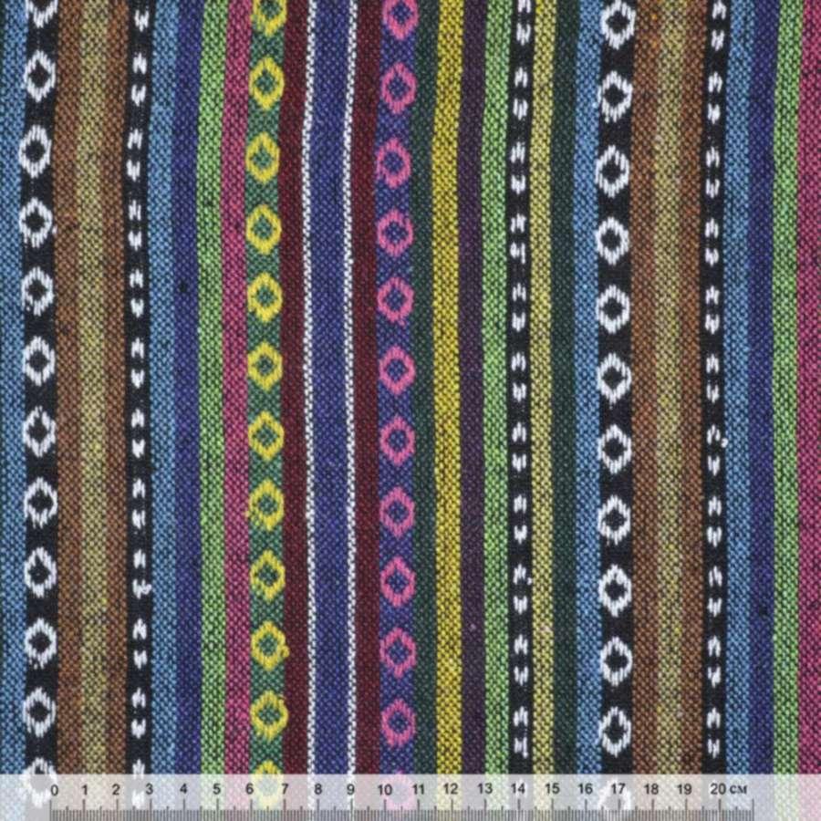 """ткань """"этно"""" сине-террак.+зелено-черн. полосы с орнаментом ш.150"""