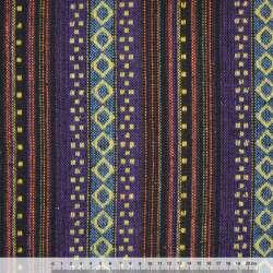 Ткань этно сине-черные, голубые полосы с бежевыми ромбами ш.150