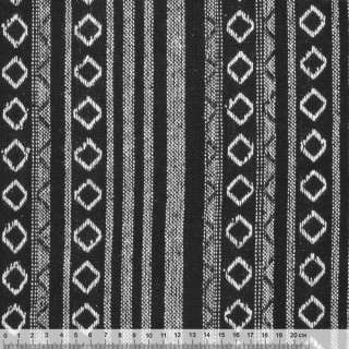 Ткань этно черная с белыми полосками и ромбами ш.145