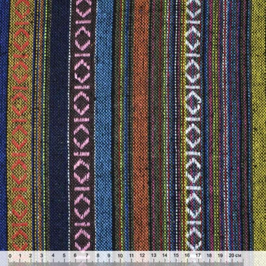 """ткань """"этно"""" желто-синие+коричнев. полосы с орнаментом  ш.150"""