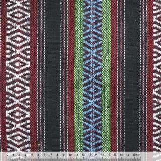 """ткань """"этно"""" черно-красн.+зеленые полоски с орнаментом ш.148"""