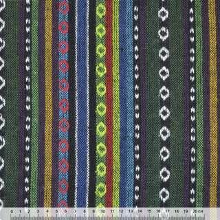 """ткань """"этно"""" зелено-синие+салатовые полосы с орнаментом  ш.150"""