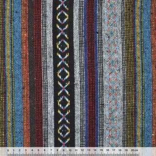 """ткань """"этно"""" черно-серые+синие полосы с орнаментом  ш.150"""
