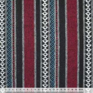 """ткань """"этно"""" черно-красные+серые полосы с орнаментом ш.150"""