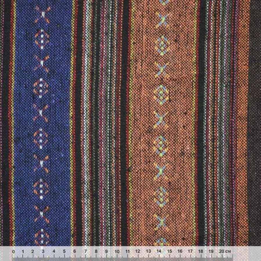 """ткань """"этно"""" терракот-синие+корич-малин полоски с орнамент. ш.146"""