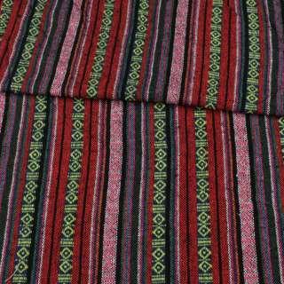 Ткань этно красные, розовые, синие полоски с орнаментом ш.150