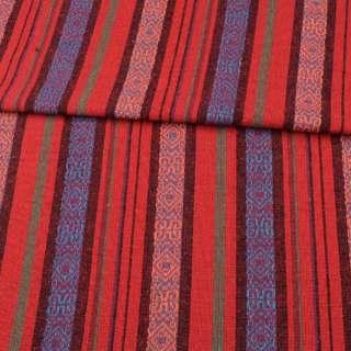 Ткань этно красные, черные, синие полоски с орнаментом, ш.146