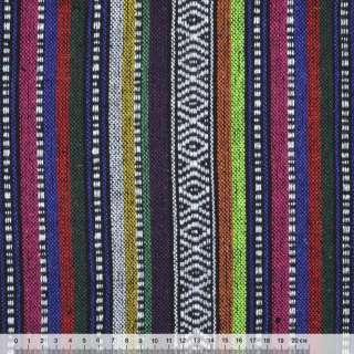 Ткань этно фиолетово-малиновые, оранжевые полоски с орнаментом ш.150