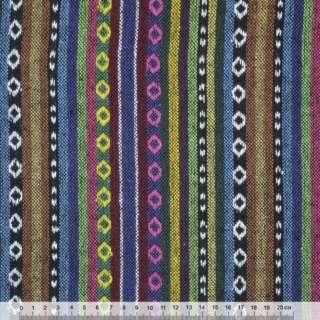 Ткань этно сине-терракотовые, зелено-черные полосы с орнаментом  ш.155