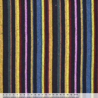 Тканина етно жовто-сині, рожево-чорні смужки ш.150